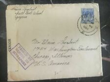 1940 Malaya Singapore Swimming Club Censored Cover To Chicago Usa