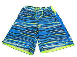 Nike Trunks Blue Gray Volt Stripe Drawstring Elastic Waist Pockets Swim Mens L