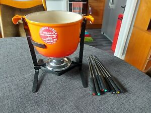 Volcanic Orange Le Creuset Fondue Set With Burner Stand & 8 Forks