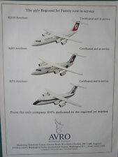 11/1993 PUB AVRO AEROSPACE AVRO RJ85 CROSSAIR TURKISH AIRLINES RJ100 RJ70 AD