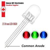 2pcs 10mm LED Diode 3 Colors RGB Transparent Light - (Red Green Blue) 4 Pin #640