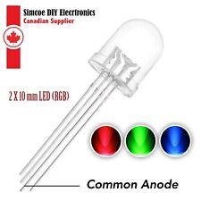 2pcs 10mm Led Diode 3 Colors Rgb Transparent Light Red Green Blue 4 Pin 640