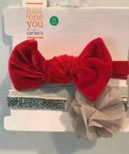 NWT Baby Girls 2 Pack RED GREY/SILVER Head Bands Bow Just One You Carters