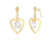 9ct yellow gold heart crystal drop drop Andralok earrings / Gift box