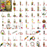 Bird Parrot Hanging Swing Cage Toy Rope Budgie Chew Play Bell Mirror Perch Stand