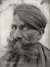 1928 Original INDIA Udaipur Rajput Arab Male Turban Beard Photo Art By HURLIMANN