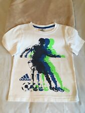 Boys size 6 Adidas heavier weight white tee shirt with blue graphic EC