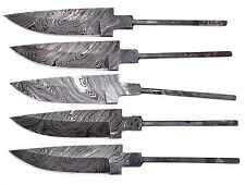 5xDamascus steel BLANK BLADES FOR KNIFE MAKING FIX BLADE  KNIVES ,LOT OF 5 BLADE
