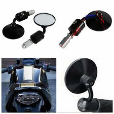 "Motorcycle CNC Aluminum Rear View 3"" Handle Bar End 7/8"" Mirrors Round Black NEW"
