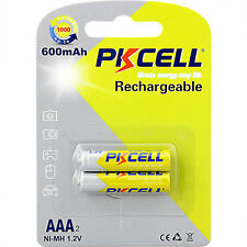 2PCS AAA 600mAh 1.2V NI-MH 3A Rechargeable Battery PKCELL Free Shipping From CA