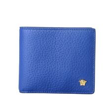 Versace 100% Leather Blue Men's Wallet