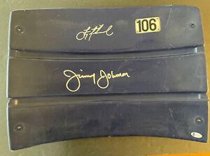 Jimmy Johnson & Troy Aikman Signed Seatback Beckett COA card lost Dallas Cow