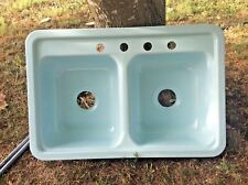 Mansfield Double Bowl Kitchen Sink heritage Blue Porcelain On steel NOS drop in