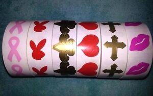 50 TanningStickers:Hearts,Kiss/Lips,Playboy Bunny,Breast Cancer,FluerDeLis,Cross