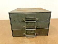 Vintage Metal Cabinet Organizer 3 Drawer File Parts Bin Industrial Steel 50s 60s