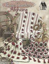 Rose Garden Afghans Crochet Floral Vintage Antique Stripes Decor Tassel Teatime