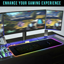 RGB Gaming Mouse Pad Large LED Backlit Keyboard Mat Mousepad Non-Slip Rubber