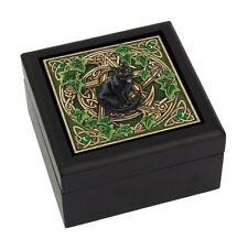 Celtic Pentagram Black Cat Mystic Pagan Wooden Tile Box Lisa Parker Jewelry Box