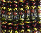 28 Handmade Lampwork Glass Beads Bumpy Dots Black Red Yellow Rondelle Halloween