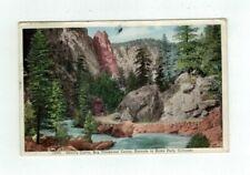 CO Big Thompson Canon Colorado 1933 post card Devil's Curve Enroute to Estes Pk