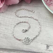 Silver Filigree Charm Anklet Ankle Bracelet Chain Adjustable Summer Jewellery Uk