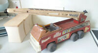 VINTAGE LARGE TIN PLATE - TONKA- TOY FIRE ENGINE- 19 INCHES LONG