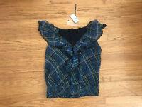 NWT BELLATRIX Nordstrom royal blue check ruffle blouse top M 100% Silk