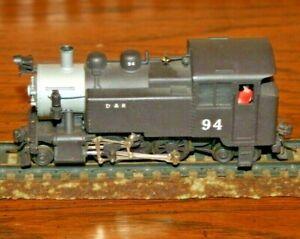 HO gauge 2-rail, Mantua D&R #94 loco, painted brass loco in good condition.
