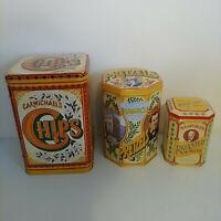 Vintage advertising CARMICHAEL'S HAGUE'S RADFORD'S TINS chips nuts pretzels box