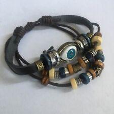 Men Women Unisex Handmade Evil Eye Leather Adjustable Bracelet Jewellery UK