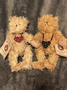 Boyds Bear Friendship Bears Connected 2 Bears Head Bean Collection w Tags #50009
