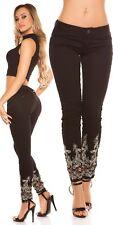Koucla Jeans Damen Skinny Jeanshose mit Stickerei & Strass