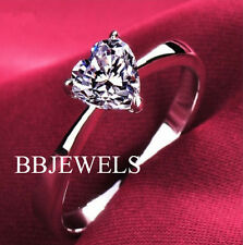 1.30 CT Heart Shape Diamond Solitaire Engagement Ring 14K White Gold
