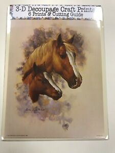 'Brown & White Horse & Foal' Set of 6 Prints and Cutting Guide for Decoupage