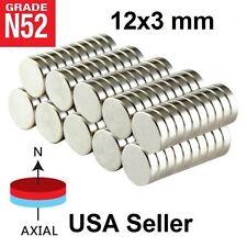 Lot 100 50 12mm X 3mm 12 X 18 Neodymium Disc Strong Rare Earth N52 Magnets
