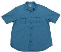DULUTH TRADING Nylon Blue Short Sleeve Button Front Shirt Mens LARGE