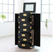 Jewelry Box Armoire Black With Mirror Gold Tall Cabinet Storage Trunk Organizer