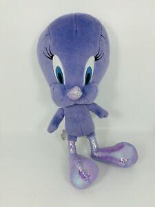 "Rare Mattel Looney Tunes Plush 11"" Glitter Metallic Purple Tweety Bird Sewn Eyes"