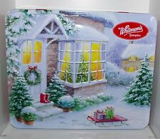 Hazel Lincoln VILLAGE CHRISTMAS COTTAGE Whitman's EMBOSSED Tin Box Container