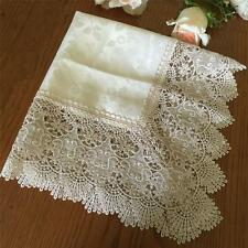 Elegant  Light Beige Jacquard Flower Solubility Lace Table Cloth