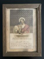 Vintage 1935 Remembrance of First Holy Communion Framed Certificate