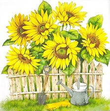 3x Single Paper Napkins For Decoupage Yellow Sunflower Flower With Fence N525