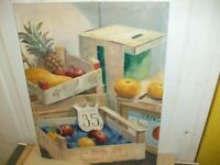20TH CENTURY OIL ON CANVAS STILL LIFE, FRUIT AND BOXES BY ASHWOOD
