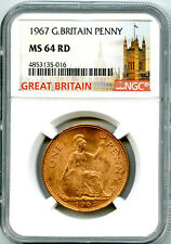 1967 GREAT BRITAIN BRITANNIA PENNY NGC MS64 RD LAST YEAR OF LARGE COPPER DESIGN