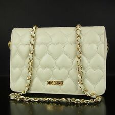 Auth MOSCHINO Logos Heart Quilted  Leather Chain Shoulder Bag F/S 13092b