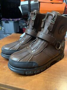 POLO RALPH LAUREN Conquest HI III Brown Dual Zip Leather Boots Size 10 NEW
