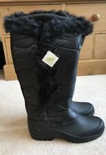 NEW HARRY HALL Black Quilted Faux Fur Long Winter Toggle Boots Womens Size UK 7