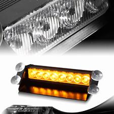 Amber 8 LED Hazard Warning Flashing Strobe Light With Suction Cup Mounts