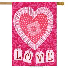 "Patchwork Heart Valentine's Day House Flag Briarwood Lane 28"" x 40"""