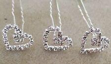 Formal/Bridal Clear Glass Crystal Rhinestone Heart Hairpins X 6